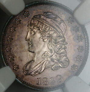 1829-Capped-Bust-Silver-Half-Dime-NGC-UNC-Details-Toned-Gem-BU-Example-BW