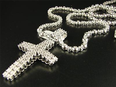 WHITE GOLD FINISH 2 ROW MENS REAL DIAMOND CROSS + 1 ROW DIAMOND CHAIN 34