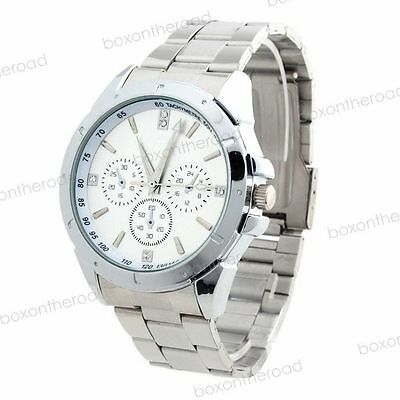 NEW Fashion White Stainless Steel Band Dial Crystal Lady Women Men Watch