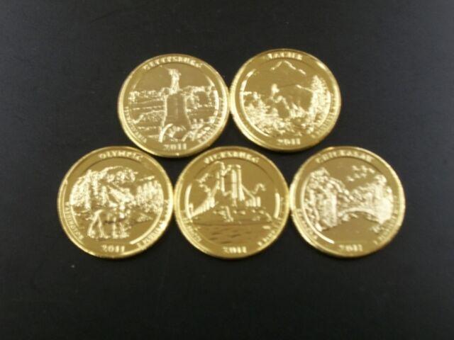 2011 Complete Set of 24kt. Gold Plated Parks Quarters