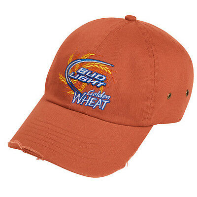 (2) Bud Light Golden Wheat Enzyme Washed Cap 100% Cotton Twill Free Shipping