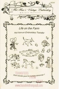 Life-on-the-Farm-Hot-Iron-Embroidery-Transfers-by-Mamaw-039-s-Vintage-Embroidery