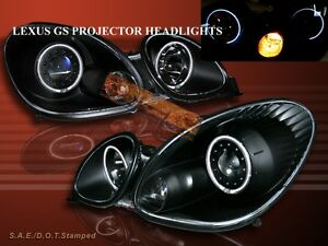 1998-2005-LEXUS-GS-GS300-GS400-PROJECTOR-HEADLIGHTS-CCFL-TWO-HALO-BLACK