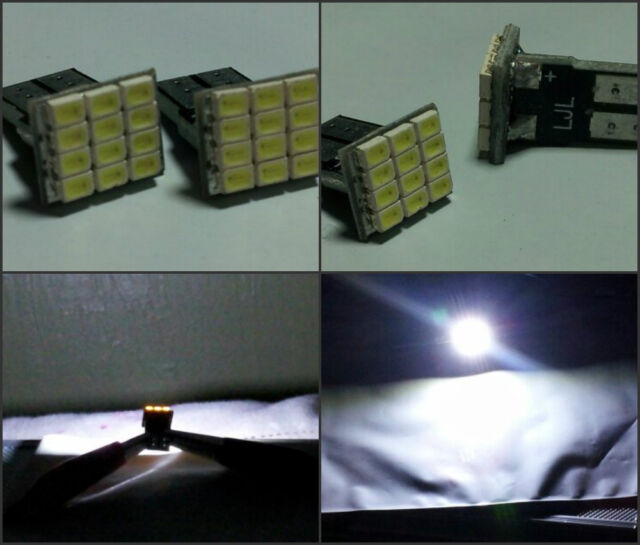 2x White LED Bulbs 12 SMD T10 Wedge Side Marker Step Door Light License Plate