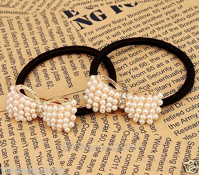 Free PP Cute Temperamentally Faux Pearl Bowknot Ponytail Hair Accessorie 261127