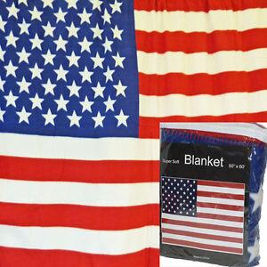 BL0512-NEW-American-Flag-Fleece-Blanket-50-034-x-60-034-July-4th-Throw-U-S-A