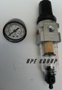 "1//4/"" MINI COMPRESSED AIR IN-LINE FILTER REGULATOR WITH GAUGE FR202N"