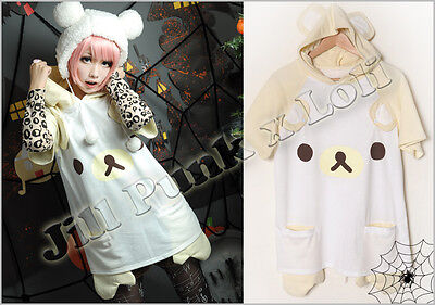 Lolita CuTie Rilakkuma Ears Face Hoodie short sleeved T-shirt YELLOW JCE0004
