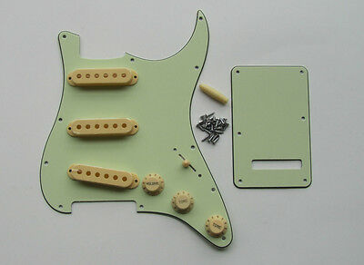 Mint Green Strat Pickguard,Trem Cover with Cream Pickup Covers,Knobs,Tips Screws
