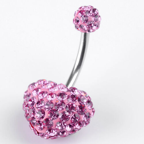 1PC 14ga Czech Crystal Heart Belly Navel Ring Barbells Body Piercing 4 Colors
