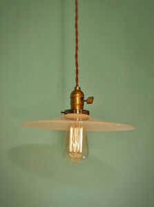 Image Is Loading Vintage Industrial Hanging Light W Flat Lamp Shade