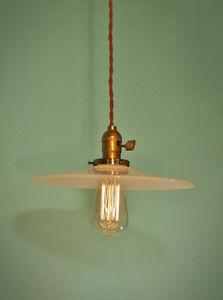 Vintage-Industrial-Hanging-Light-w-Flat-Lamp-Shade-Machine-Age-Milk-Glass