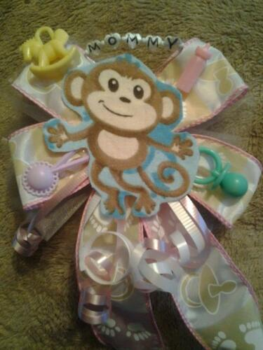 pink or blue  style #3 Baby shower MOMMY monkey corsage boy girl white