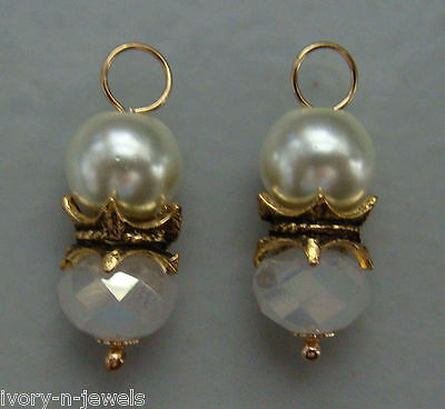 Double White Crystals & Glass Pearls INTERCHANGEABLE Earring Charms YG or SS