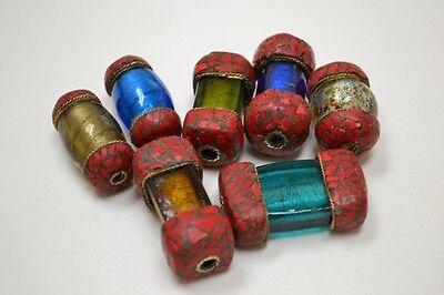 ASSORT HANDMADE TIBET RED CORAL GLASS BEADS 7 PCS #T-190