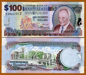 Barbados-100-dollars-1-5-2007-2009-signature-P-71-New-UNC