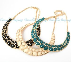 3-Colors-Fashion-Golden-Water-Drop-Resin-Beads-Crystal-Pendant-Necklet-Necklace