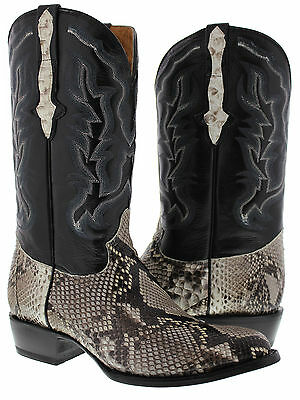 Men's genuine natural exotic python snake skin cowboy boots western rodeo biker