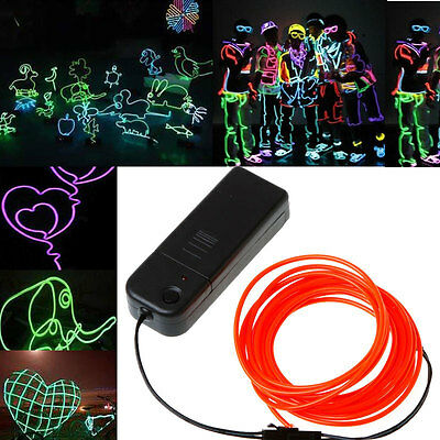 NEW 3m Red Flexible Neon Light Glow EL Wire Rope Tube Car Dance Party Controller