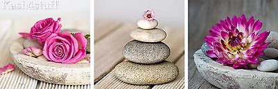 Pink Flower & Pebble Spa Montage Bathroom Canvas Wall Art Pictures Set of 3