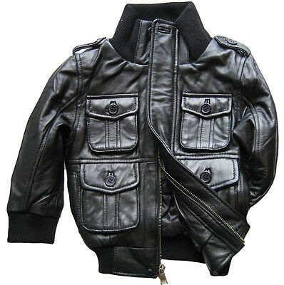 black leather bomber jacket genuine lambskin toddler baby boys