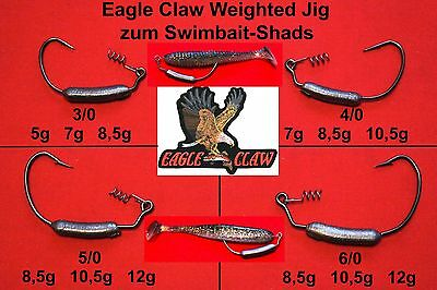 3x Eagle Claw Swimbait Weighted Jig Kopf Jighaken Jigköpfe Bleikopf