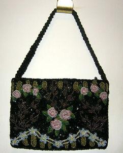 Christiana-Black-Beaded-Evening-Bag-Purse-Handbag-Ornate-Sequined-New-Small
