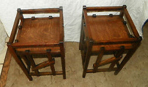 Pair-of-Quartersawn-Oak-Mission-Plant-Stands-Tables-PS6