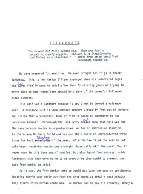 """""""BRILLOGATE"""" - 1980 photocopy manuscript 25 pages hand edited by Harlan Ellison"""