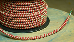 Red/Tan Hounds-Tooth Cloth Covered 3-Wire Round Cord, 18ga. Vintage Pulley Cable