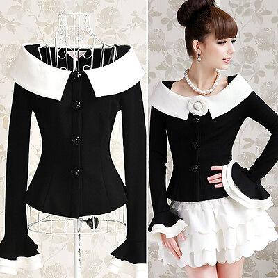 Korea Style Women Black Coat Jackets Jacket
