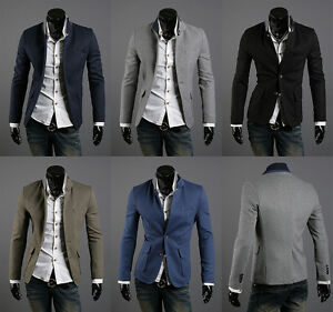 korea_top mens blazer jackets korean fashion two button coat slim ...