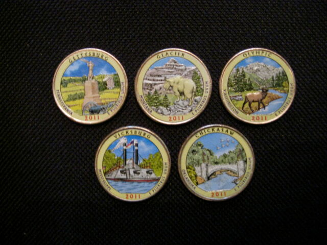 2011 Complete Set Of Colorized Set Of National Park Quarters - P + D (10 Coins)