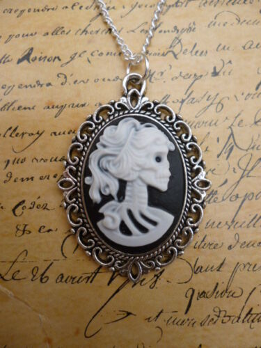 Vintage Gothic Steampunk Skull Skeleton Lady Black Cameo Pendant Silver Necklace