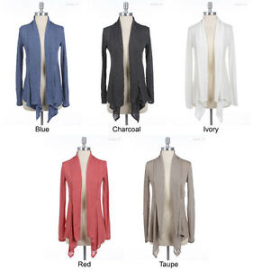 Solid-Plain-Long-Sleeve-Draped-Open-Cardigan-VARIOUS-COLOR-and-SIZE