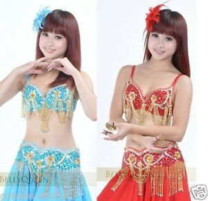 Brand-New-Sexy-Belly-Dance-2-Pcs-Costume-Bra-Belt-2-Colors-Red-And-Light-Blue