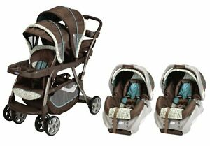 Graco-Ready2Grow-LX-Baby-Stoller-SnugRide-Car-Seat-Twin-Travel-System-Oasis