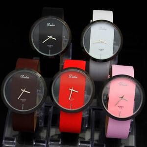 Ladies-Women-039-s-Mens-Unique-Without-Second-Hand-Quartz-Faux-Leather-Wrist-Watches