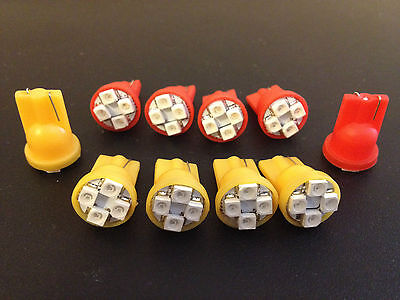 10 Ford Orange Red Check Engine Oil Hot Stop Indicator LED Light Bulb Lamp NOS