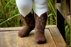 INFANT-TODDLER-COWBOY-BOOT-TIGHTS-BROWN-BOOTZIES-FOR-YOUR-COWGIRL-SZ-6-18-MOS