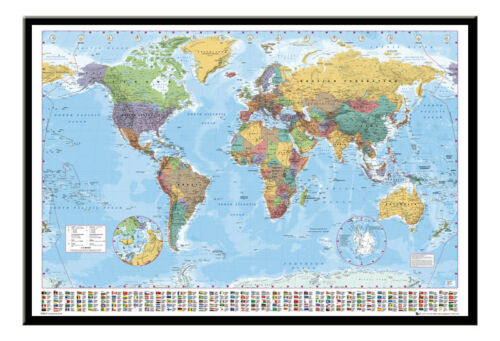 World Map Poster  With Country Flags  Magnetic Notice Board Black Framed