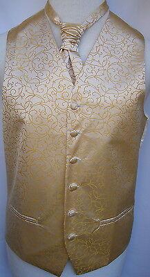 Mens Gold Swirl Wedding Waistcoat w/wo Cravat,Tie,Bowtie from 21.95 to 23.95