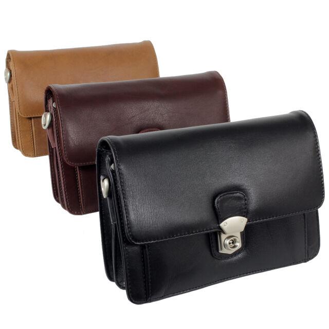 Branco Business Handgelenktasche Herren Tasche Leder schwarz, braun oder natur