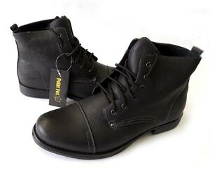 NEW MENS ANKLE BOOTS MILITARY COMBAT STYLE LEATHER LINED SHOES ...