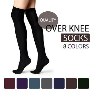 THIGH-HIGH-OVER-THE-KNEE-SOCKS-VARIOUS-COLOURS-AVAILABLE-SIZES-4-7