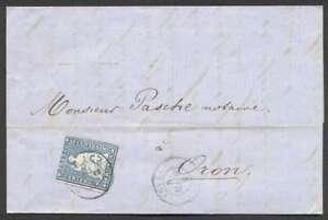 Switzerland-To-France-Folded-Letter-1860-w-1-Stamp-L-K