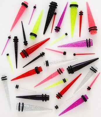 PAIR Glitter Ear Plug  Stretcher Tapers 14g 12g 10g 8g 6g 4g 2g 0g 00g Gauges