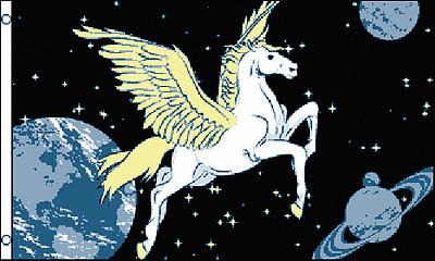 PEGASUS FLAG 5' x 3' Greek Mythical Winged Horse World Earth Moon Stars