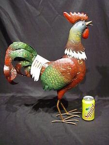 NEW-BIG-TALL-Metal-Rooster-Farm-Barn-Yard-Art-Garden-Country-Kitchen-Chicken-Hen