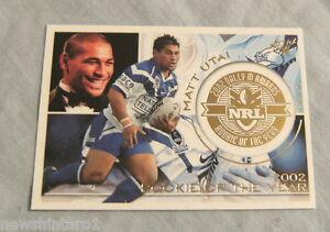 2003 RUGBY LEAGUE DALLY M CARD - DM3 MATT UTAI, CANTERBURY BULLDOGS